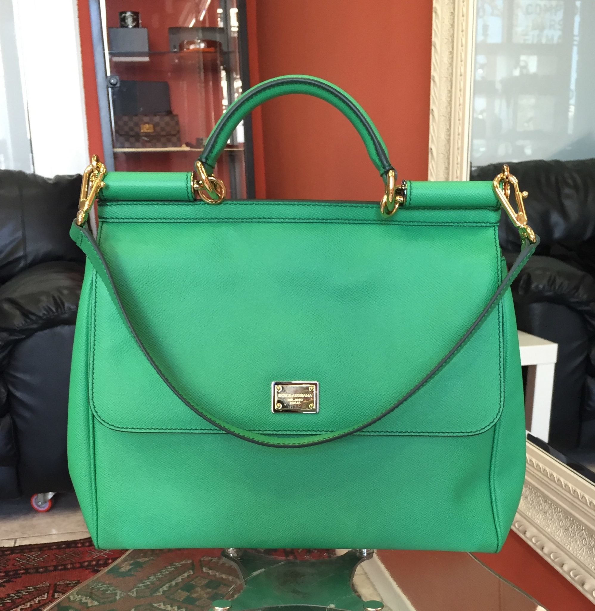c2ce588e038f New Dolce   Gabbana Miss Sicily Green Large shoulder Bag   Gold Hardware