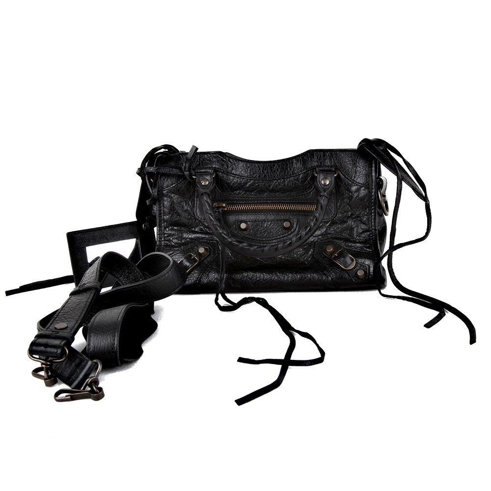 Balenciaga mini city borsa in pelle nera con card e for Borse usate firmate