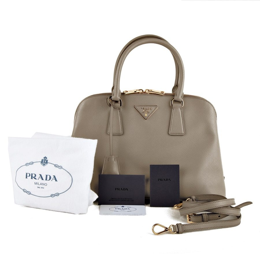 fcbb2ad0f85a PRADA 2WAY saffiano Grey leather tote bag Promenade BL0837 Zipper Gold  hardware