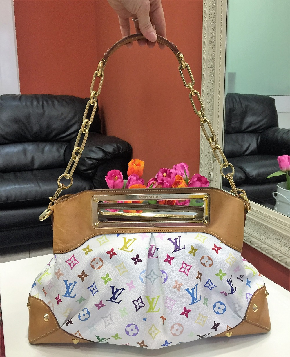 Borsa firmata Louis Vuitton Judy MM Multicolore Bianca ...