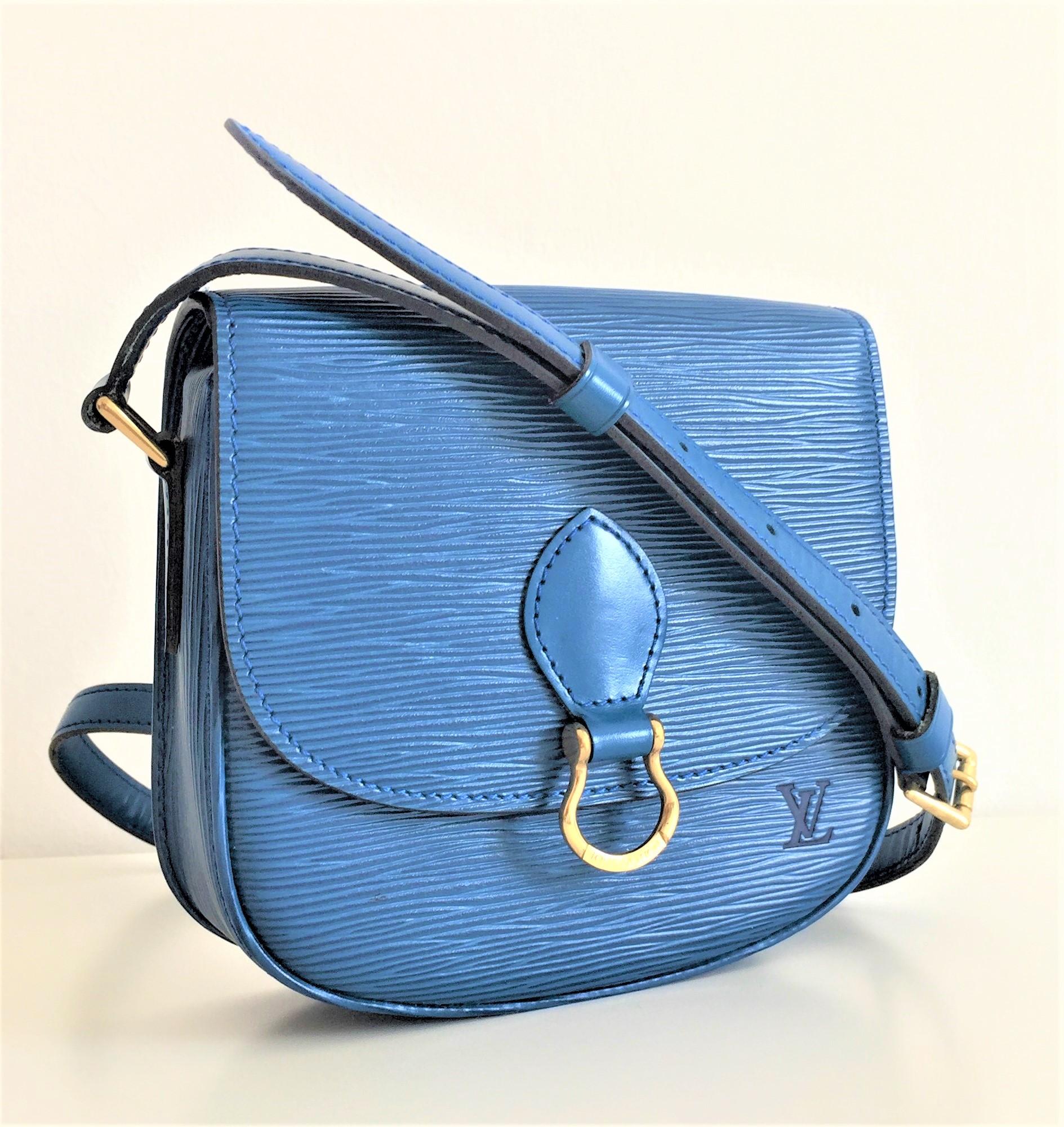 99272054a6ff Louis Vuitton Mini Saint Cloud cross body shoulder bag in Epi Blue Leather  ...