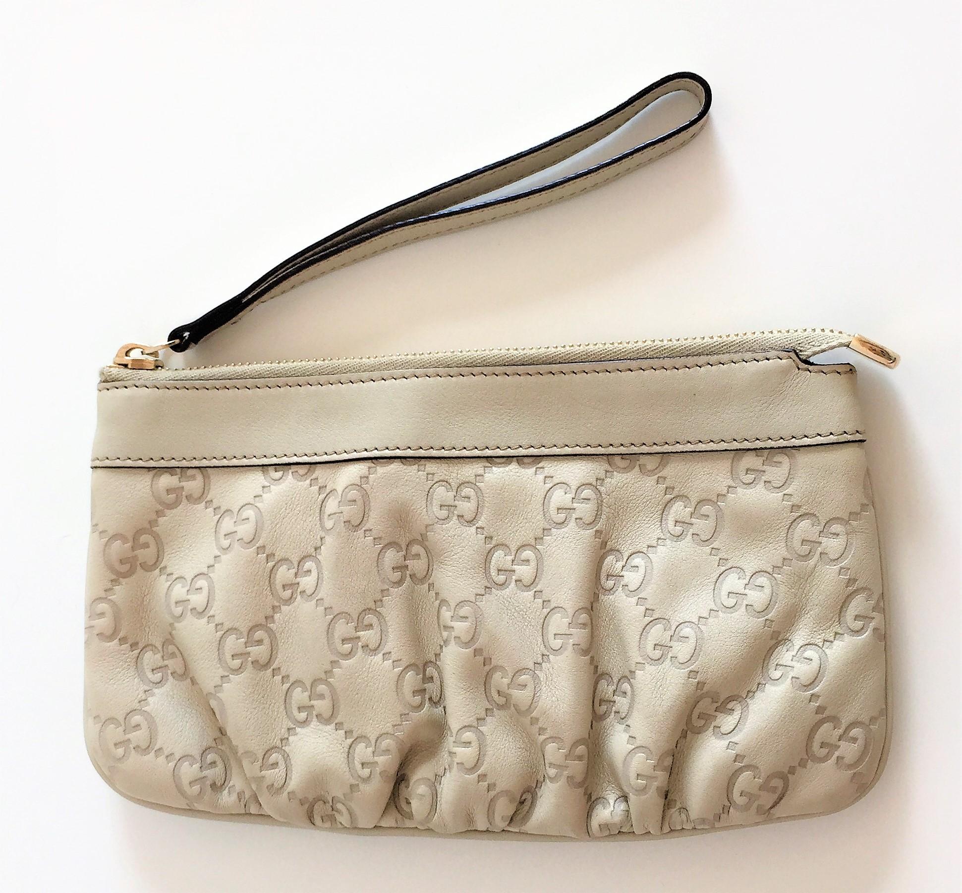 Gucci Clutch In Excellent Condition Ivory Leather Guccissima Alma Mini Bag